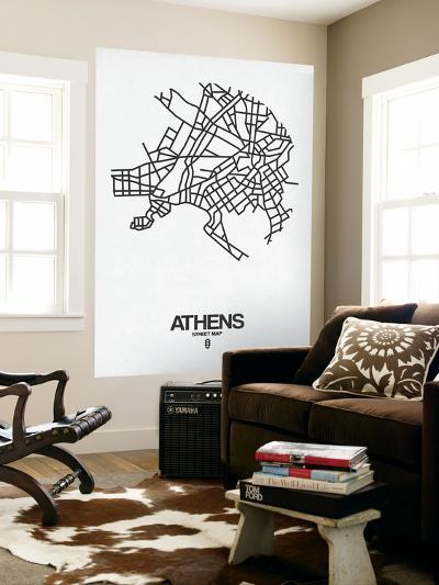 Athens Street Map White-NaxArt-Wall Mural