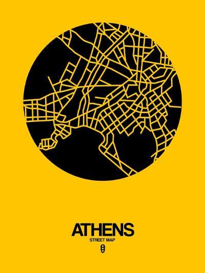 Athens Street Map Yellow-NaxArt-Art Print