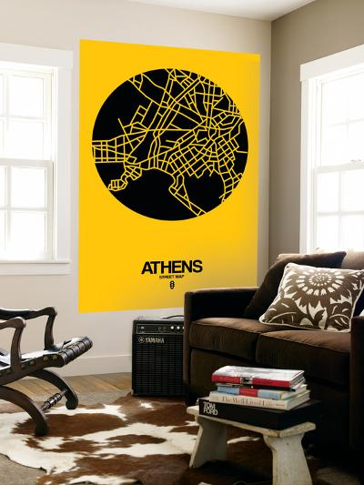 Athens Street Map Yellow-NaxArt-Wall Mural