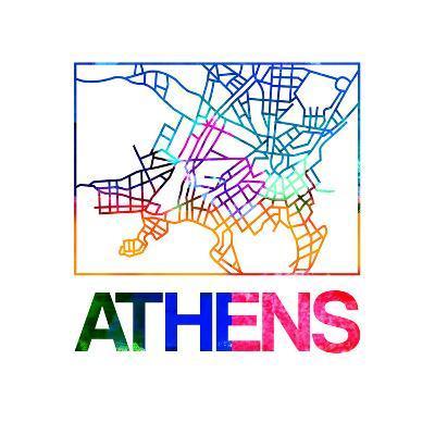 Athens Watercolor Street Map-NaxArt-Art Print
