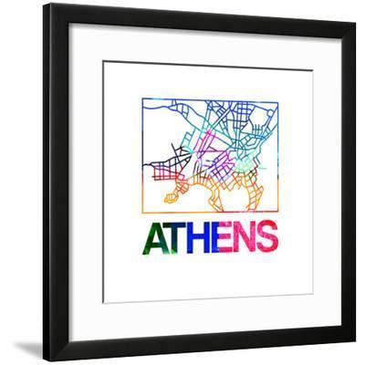Athens Watercolor Street Map-NaxArt-Framed Premium Giclee Print