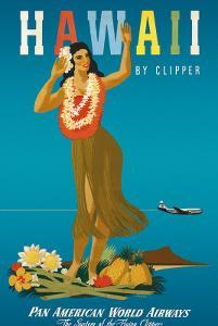 Hawaii By Clipper, Pan American Airways, Hula Girl, c.1950 by Atherton