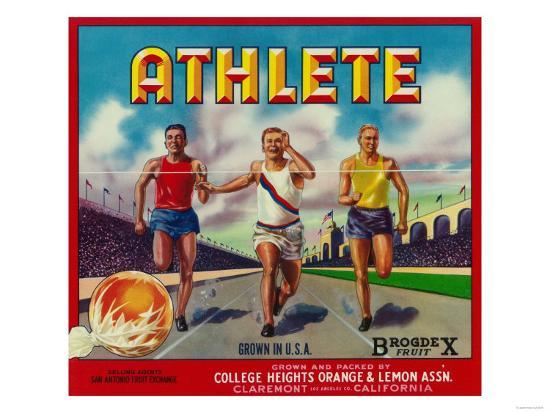 Athlete Brand Citrus Crate Label - Claremont, CA-Lantern Press-Art Print