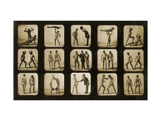 Athletes Posturing, from the 'Animal Locomotion' Series, C.1881-Eadweard Muybridge-Photographic Print