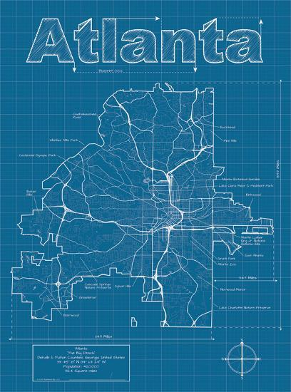 atlanta artistic blueprint map art print by christopher estes art com