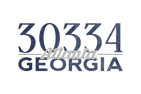 Atlanta, Georgia - 30334 Zip Code (Blue)-Lantern Press-Art Print