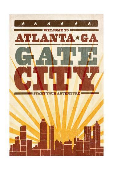 Atlanta, Georgia - Skyline and Sunburst Screenprint Style-Lantern Press-Art Print