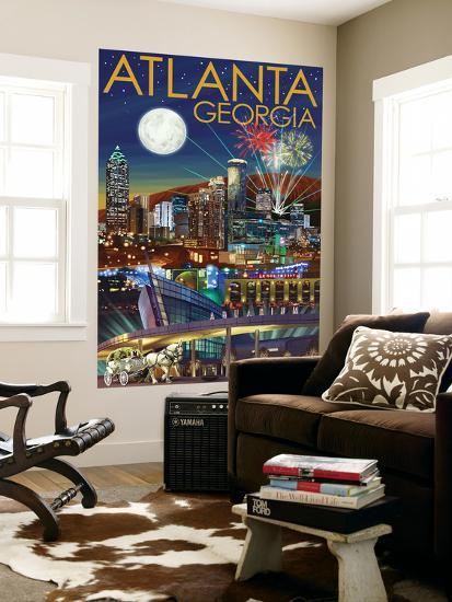 Atlanta, Georgia - Skyline at Night-Lantern Press-Wall Mural