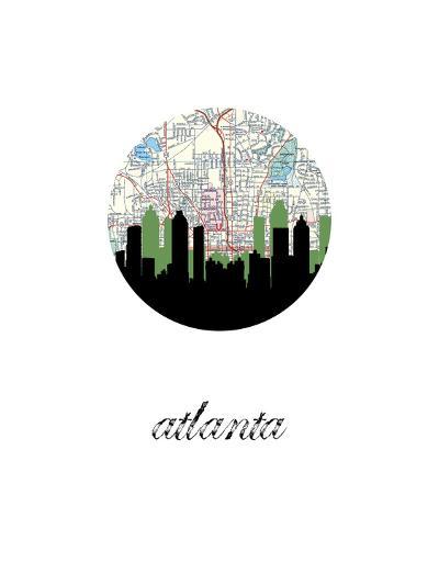 Atlanta Map Skyline--Art Print