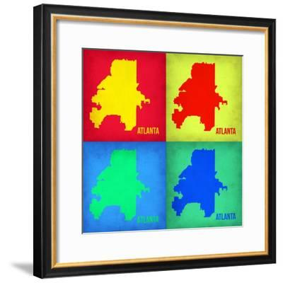 Atlanta Pop Art Map 1-NaxArt-Framed Premium Giclee Print