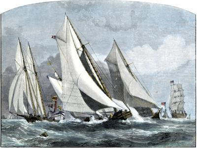 """Atlanta, """"Tidal Wave,"""" and """"Mischief"""" in An America's Cup Race Off Sandy Hook, NJ, 1881"""