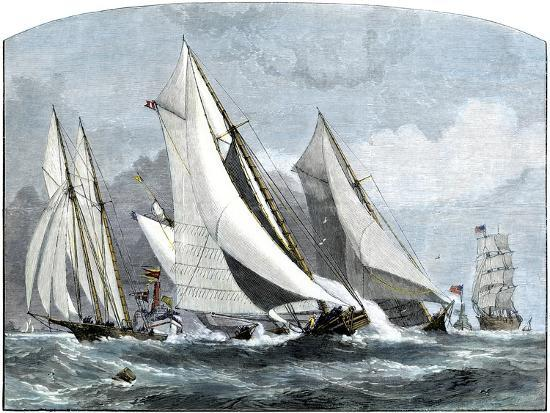 """Atlanta, """"Tidal Wave,"""" and """"Mischief"""" in An America's Cup Race Off Sandy Hook, NJ, 1881--Giclee Print"""