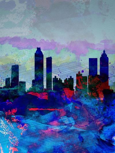 Atlanta Watercolor Skyline-NaxArt-Art Print
