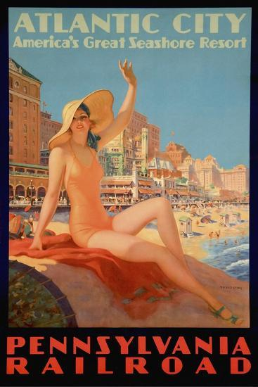 Atlantic City Bathing Pa Line-Vintage Apple Collection-Giclee Print