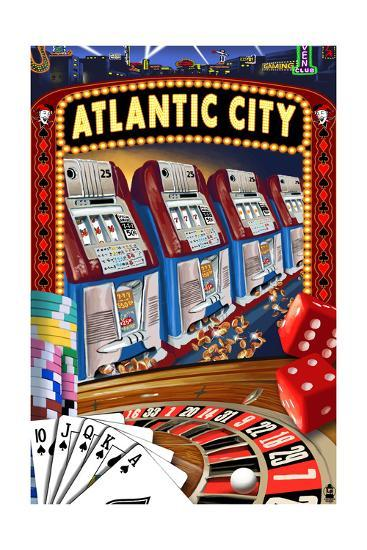 Atlantic City - Casino Scene-Lantern Press-Art Print