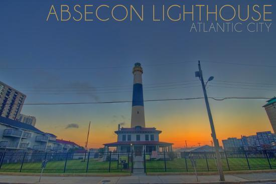 Atlantic City, New Jersey - Absecon Lighthouse and Sunset-Lantern Press-Wall Mural