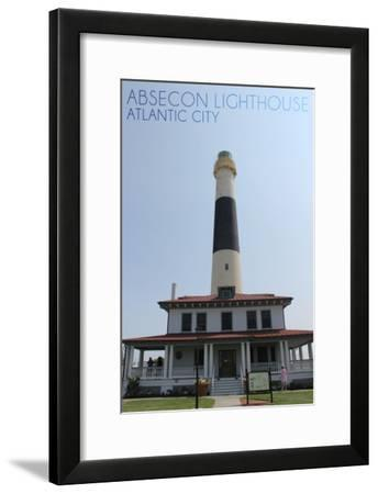 Atlantic City, New Jersey - Absecon Lighthouse Front View-Lantern Press-Framed Art Print