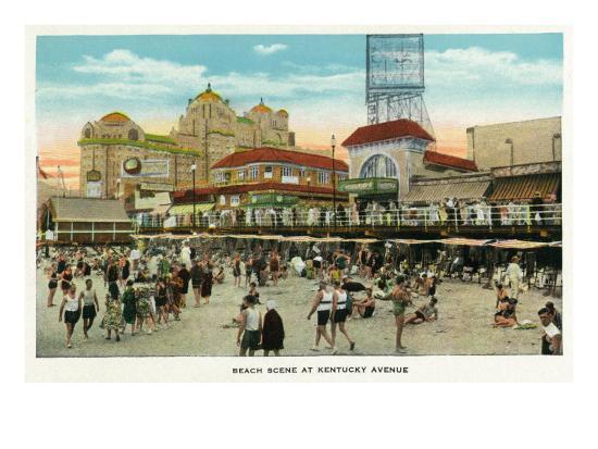 Atlantic City, New Jersey - Beach Scene at Kentucky Avenue, c.1929-Lantern Press-Art Print