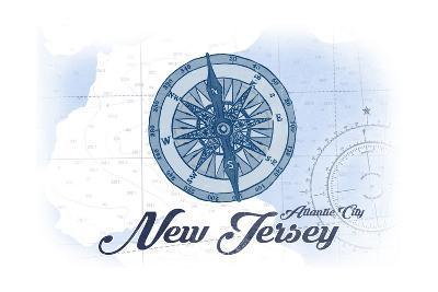 Atlantic City, New Jersey - Compass - Blue - Coastal Icon-Lantern Press-Art Print