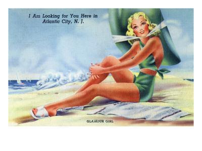 Atlantic City, New Jersey - Glamour Girl on the Beach-Lantern Press-Art Print