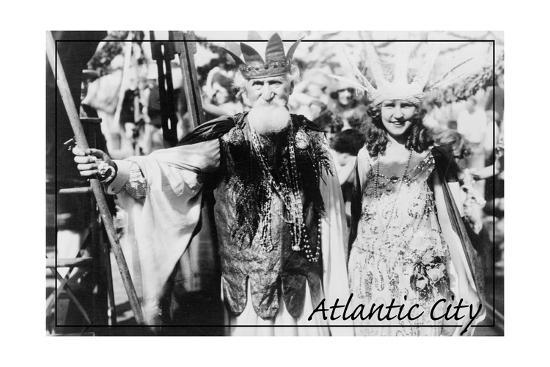 Atlantic City, New Jersey - Neptune and Miss America at Carnival --Lantern Press-Art Print