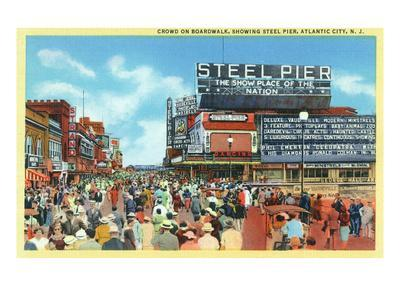 Atlantic City, New Jersey - Steel Pier View from Boardwalk-Lantern Press-Art Print