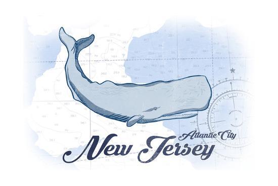 Atlantic City, New Jersey - Whale - Blue - Coastal Icon-Lantern Press-Art Print