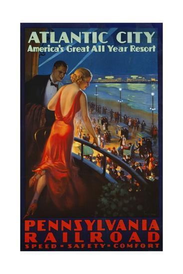 Atlantic City Pennsylvania Railroad Poster--Premium Giclee Print