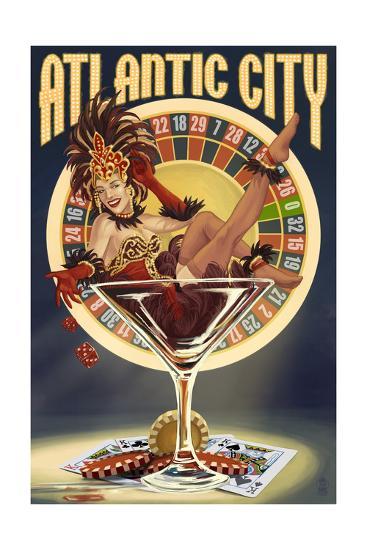 Atlantic City - Pinup Showgirl-Lantern Press-Art Print