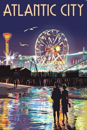 Atlantic City - Steel Pier at Night-Lantern Press-Art Print
