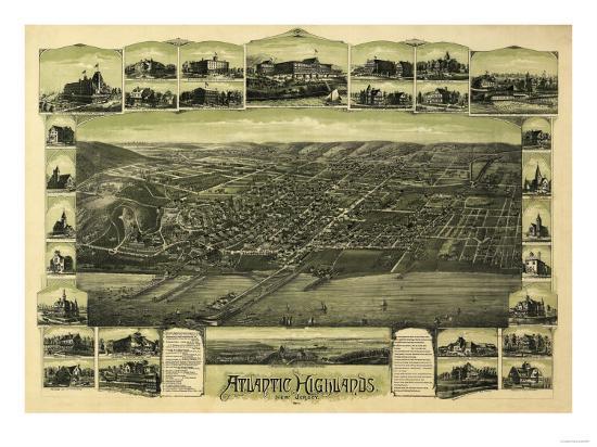 Atlantic Highlands, New Jersey - Panoramic Map-Lantern Press-Art Print