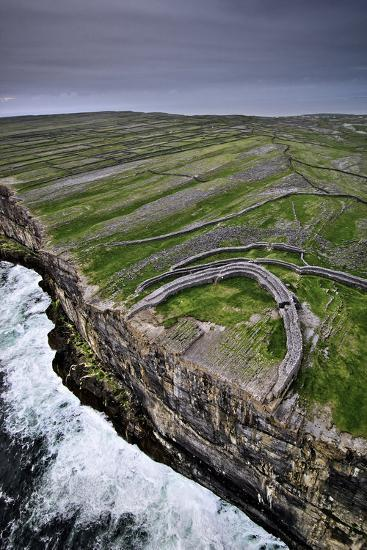 Atlantic Waves Crash on the Cliffs Beneath the Ancient Dun Aengus-Jim Richardson-Photographic Print