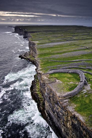 Atlantic Waves Crash on the Cliffs Beneath the Ancient Dun Aengus-Jim Ricardson-Photographic Print