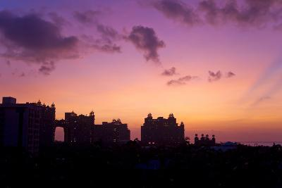 Atlantis Resort in Silhouette During a Purple Sunset-Mike Theiss-Photographic Print