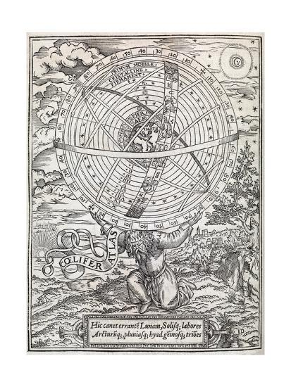 Atlas Cosmology, 16th Century Artwork-Middle Temple Library-Giclee Print