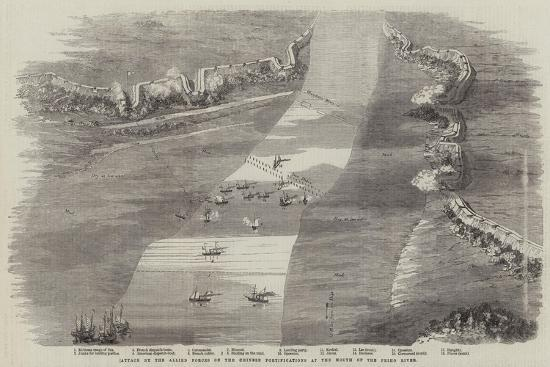Attack by the Allied Forces on the Chinese Fortifications at the Mouth of the Peiho River--Giclee Print