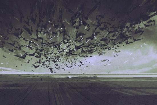 Attack of Crows,Man Running Away from Flock of Birds,Illustration Painting-Tithi Luadthong-Art Print