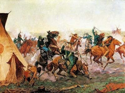Attack of Seventh Cavalry Commanded by General Custer at Cheyenne Camp on Washita River at Dawn--Giclee Print