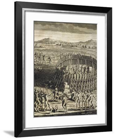 Attack on Fortified Camp, Engraving by Joseph-Francois Lafitau--Framed Giclee Print