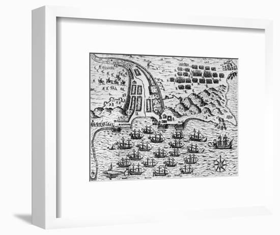 Attack on Santiago on 27th November 1585-Theodore de Bry-Framed Giclee Print