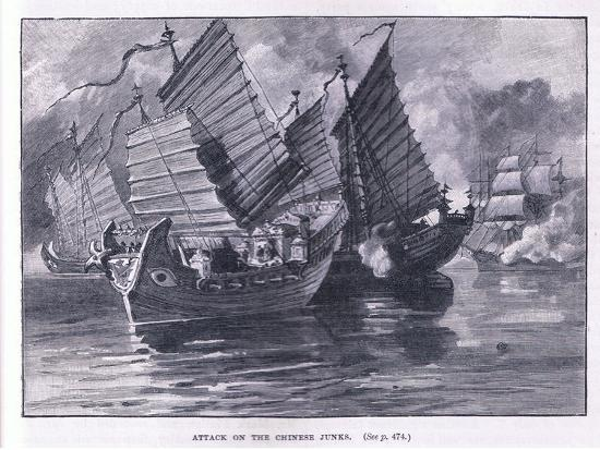 Attack on the Chinese Junks AD 1841-William Heysham Overend-Giclee Print