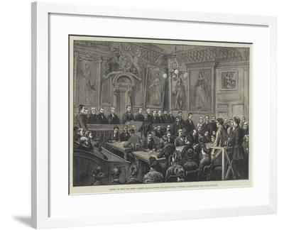 Attempt to Shoot the Queen, Roderick Maclean before the Magistrate at Windsor, Committed for Trial--Framed Giclee Print