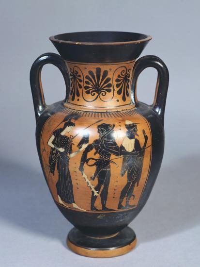 Attic Amphora Representing Hercules, Athena and Hermes--Giclee Print