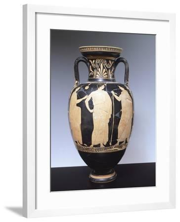 Attic Amphora with Scene Depicting Youths in Conversation, 440-430 BC--Framed Giclee Print