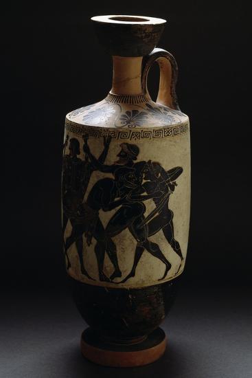 Attic Black-Figure Ceramic Vase Depicting Battle Scene--Giclee Print