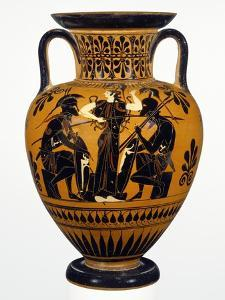 Attic Black-Figure Neck Amphora with Achilles and Ajax Gaming before Athena