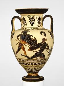 Attic Black-Figure Neck Amphora with Two Warriors Battling