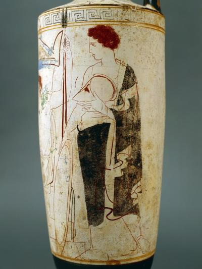 Attic Lekythos, Showing a Funeral Scene of a Warrior Seated in Front of His Tomb, 420-410 BC--Giclee Print