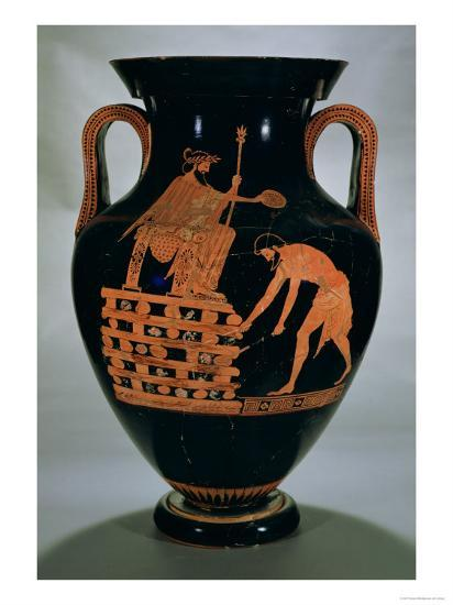 Attic Red-Figure Belly Amphora Depicting Croesus on His Pyre, from Vulci, circa 500-490 BC- Myson-Giclee Print