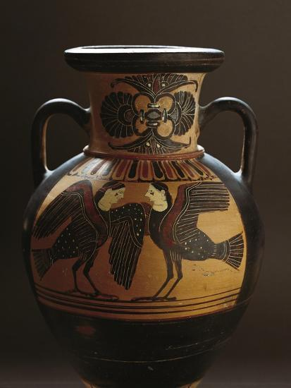 Attic Vase Depicting Two Harpies, Black-Figure Pottery, 5th Century BC--Giclee Print